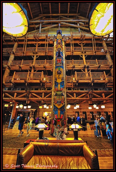 The Raven totem pole in the lobby of Disney's Wilderness Lodge Resort, Walt Disney World, Orlando, Florida