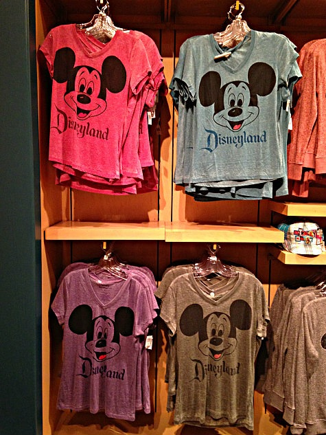 Mickey Mouse t-shirts on display in the World of Disney Store in Downtown Disney, Anaheim, California.