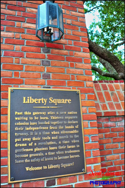 Liberty Square dedication plaque in the Magic Kingdom, Walt Disney World, Orlando, Florida