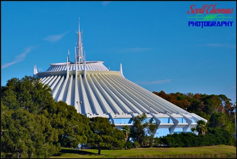 Space Mountain from the monorail leaving the Magic Kingdom, Walt Disney World, Orlando, Florida