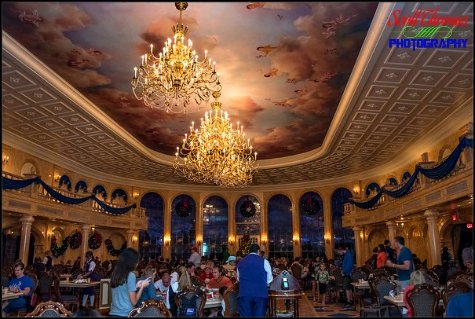 The Ballroom of the Be Our Guest restaurant in Fantasyland at the Magic Kingdom, Walt Disney World, Orlando, Florida