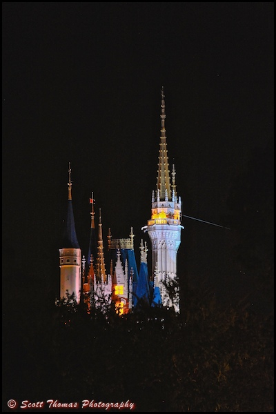 The spires of Cinderella Castle illuminated at night in the Magic Kingdom, Walt Disney World, Orlando, Florida.