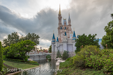 Cinderella Castle on a cloudy day at the Magic Kingdom, Walt Disney World, Orlando, Florida