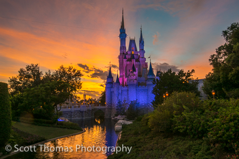 Cinderella Castle after sunset at the Magic Kingdom, Walt Disney World, Orlando, Florida