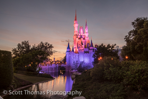 Cinderella Castle during dusk at the Magic Kingdom, Walt Disney World, Orlando, Florida