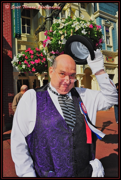 Town councilor greeting people on Main Street USA in the Magic Kingdom, Walt Disney World, Orlando, Florida