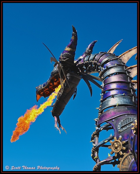 Fire breathing dragon on Main Street USA in the Magic Kingdom, Walt Disney World, Orlando, Florida