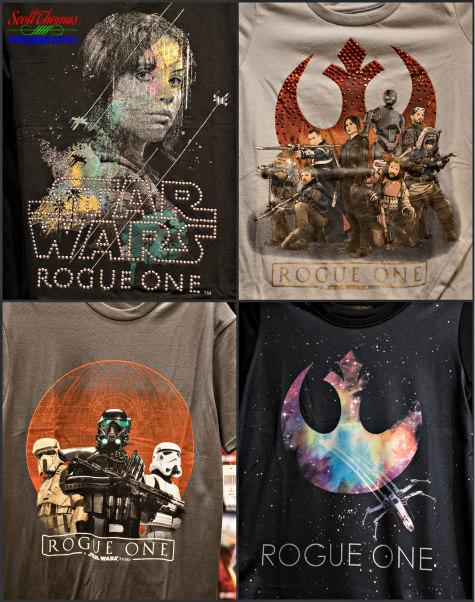 Rogue One t-shirts for sale in the Emporium on Main Street USA in the Magic Kingdom, Walt Disney World, Orlando, Florida