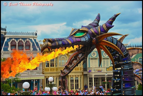 Maleficent Dragon breathing fire in the Festival of Fantasy parade in the Magic Kingdom, Walt Disney World, Orlando, Florida