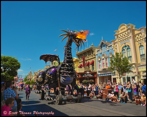 Maleficent Dragon breathing fire on Main Street USA in the Festival of Fantasy parade at the Magic Kingdom, Walt Disney World, Orlando, Florida