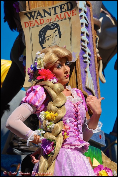 Rapunzel on the Tangled float in the Festival of Fantasy parade in the Magic Kingdom, Walt Disney World, Orlando, Florida