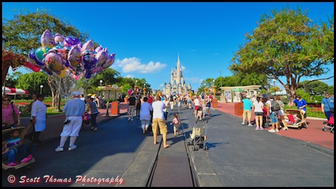 A typical scene in front of Cinderella Castle in the Magic Kingdom, Walt Disney World, Orlando, Florida