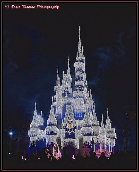 Cinderella Castle as an ice palace in the Magic Kingdom, Walt Disney World, Orlando, Florida