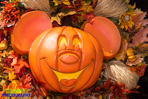 Close up of a Mickey Mouse Pumpkin decoration on Main Street USA at the Magic Kingdom, Walt Disney World, Orlando, Florida
