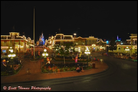 Late night view of Town Square on Main Street USA in the Magic Kingdom, Walt Disney World, Orlando, Florida.