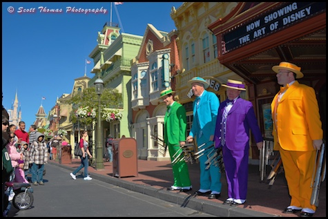 The Dapper Dans singing on Main Street USA in the Magic Kingdom, Walt Disney World, Orlando, Florida
