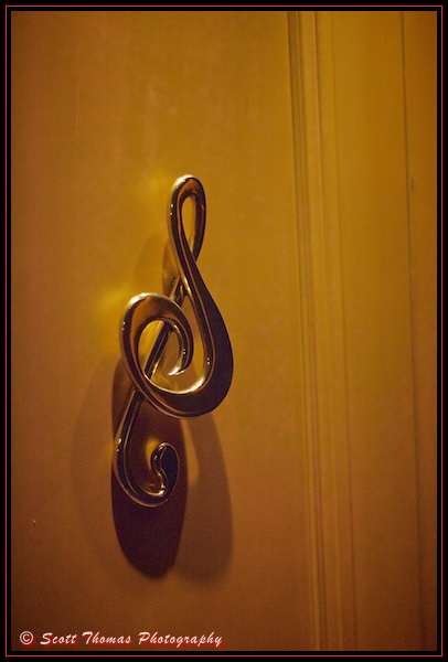 A Clef handle for a door to Mickey's PhilharMagic auditorium at the Magic Kingdom, Walt Disney World, Orlando, Florida