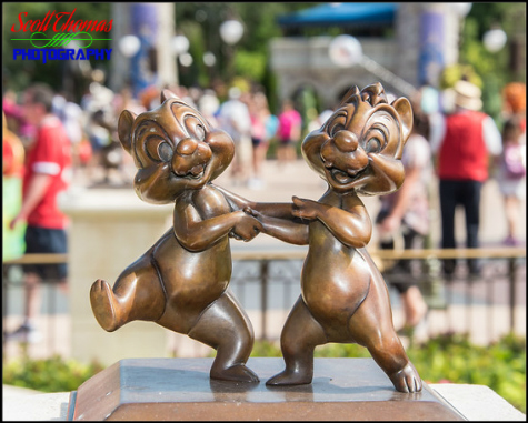 Chip and Dale Chipmunk statuette on the Main Street Plaza Gardens in the Magic Kingdom, Walt Disney World, Orlando, Florida