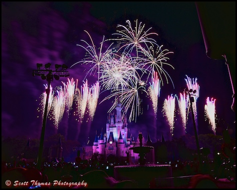 Wishes over Cinderella Castle in the Magic Kingdom, Walt Disney World, Orlando, Florida