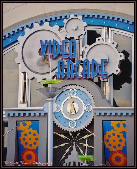 The Space Mountain Video Arcade clock in the Magic Kingdom, Walt Disney World, Orlando, Florida