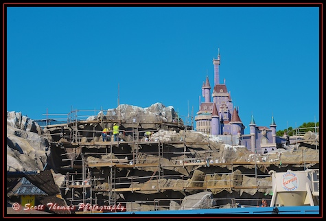 Construction of the Be Our Guest and Gastons Tavern in the Magic Kingdom, Walt Disney World, Orlando, Florida