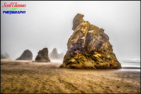 Sea stacks loom out of the fog on Ruby Beach in Olympic National Park near Forks, Washington