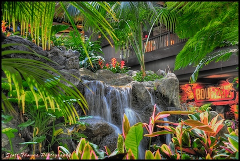 Disney's Polynesian Resort beautifully landscaped lobby captured in HDR, Walt Disney World, Orlando, Florida.