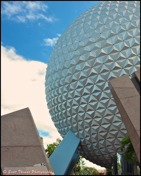 Cropped version without the guests of Spaceship Earth in Epcot, Walt Disney World, Orlando, Florida