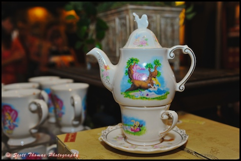 Alice in Wonderland tea pot in Epcot's United Kingdom pavilion, Walt Disney World, Orlando, Florida.
