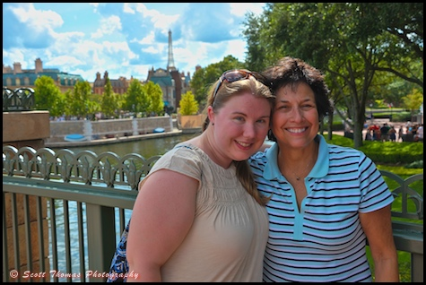 People posing with Epcot's France pavilion in the background, Walt Disney World, Orlando, Florida