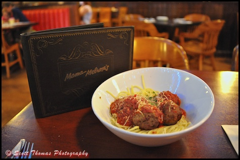 Spaghetti and meatballs entree at Mama Melrose's Ristorante Italiano in Disney's Hollywood Studios, Walt Disney World, Orlando, Florida