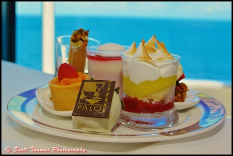 A plate full of desserts at the Palo Brunch on the Disney Dream cruise ship