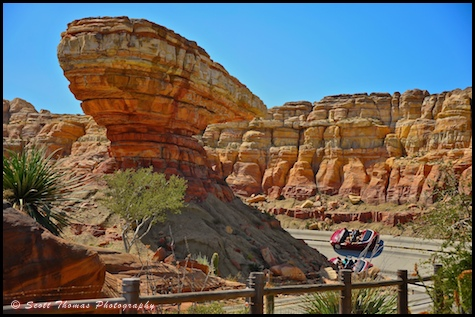 Cars race around Willy's Butte in Carsland, Disney's California Adventure, Anaheim, California