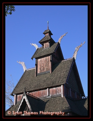 Replica of the Stave Church in Epcot's Norway pavilion, Walt Disney World, Orlando, Florida