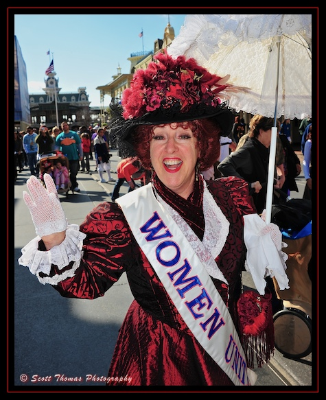 A suffragette on Main Street USA in the Magic Kingdom, Walt Disney World, Orlando, Florida.