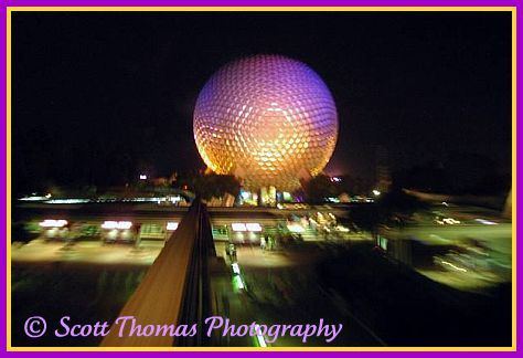 Spaceship Earth in Epcot, Walt Disney World, Orlando, Florida.