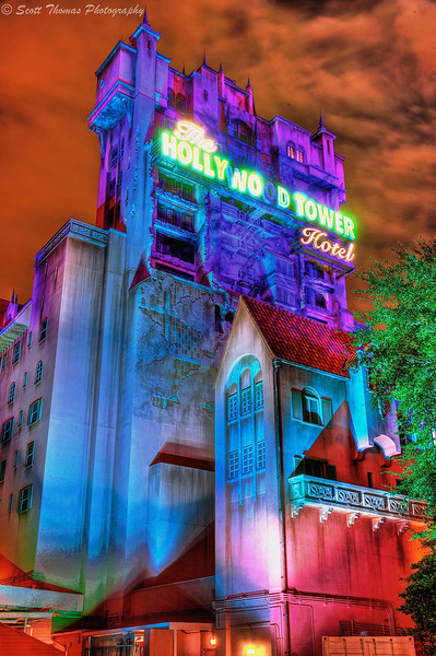 An HDR Image of the Twilight Zone Tower of Terror in Disney's Hollywood Studios, Walt Disney World, Orlando, Florida.