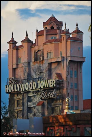 The Twilight Zone Tower of Terror under clouds at Disney's Hollywood Studios, Walt Disney World, Orlando, Florida