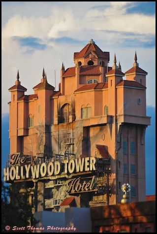 The Twilight Zone Tower of Terror in golden sunshine at Disney's Hollywood Studios, Walt Disney World, Orlando, Florida