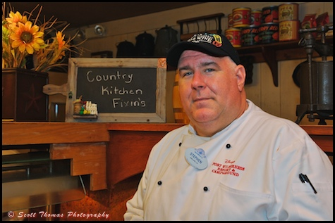 Chef Stephen at Trail's End Buffet at Disney's Fort Wilderness Resort and Campground, Walt Disney World, Orlando, Florida.