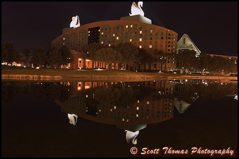 The Swan Resort mirrored in the canal the Friendship boats use during the day, Walt Disney World, Orlando, Florida.
