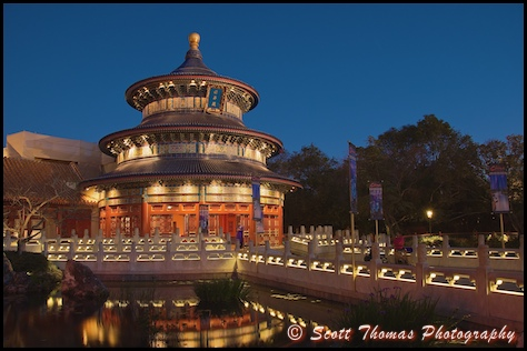 Temple of Heaven in the China pavilion in Epcot's World Showcase at dusk, Walt Disney World, Orlando, Florida.