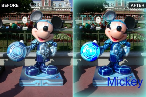 Before and After of TRON Mickey outside the Magic Kingdom, Walt Disney World, Orlando, Florida