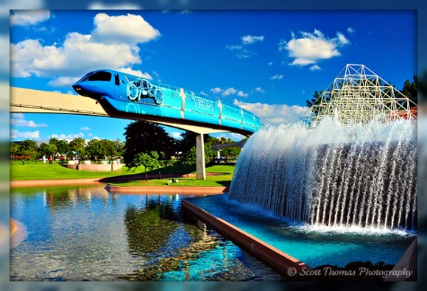 TRON Legacy monorail going past the Imagination Pavilion in Epcot, Walt Disney World, Orlando, Florida