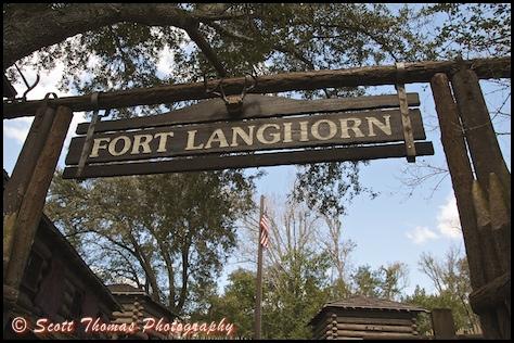 Entrance sign to Fort Langhorn on Tom Sawyer Island in the Magic Kingdom, Walt Disney World, Orlando, Florida.