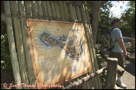 Map of Tom Sawyer Island greets guests arriving to explore it's secrets in the Magic Kingdom, Walt Disney World, Orlando, Florida