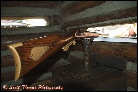 Rifle in one of Fort Langhorn's blockhouses on Tom Sawyer Island in the Magic Kingdom, Walt Disney World, Orlando, Florida.