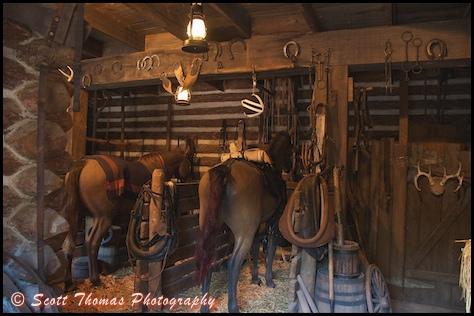 Fort Langhorn's stables on Tom Sawyer Island in the Magic Kingdom, Walt Disney World, Orlando, Florida.
