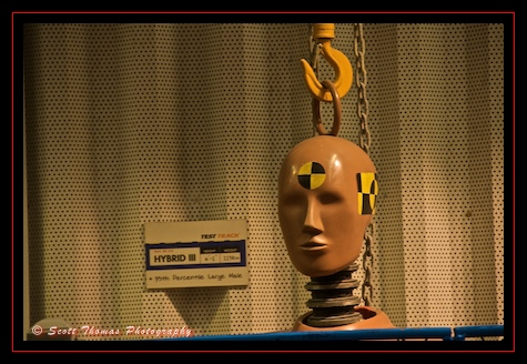 A Test Track crash dummy hanging around the ride queue in Epcot, Walt Disney World, Orlando, Florida