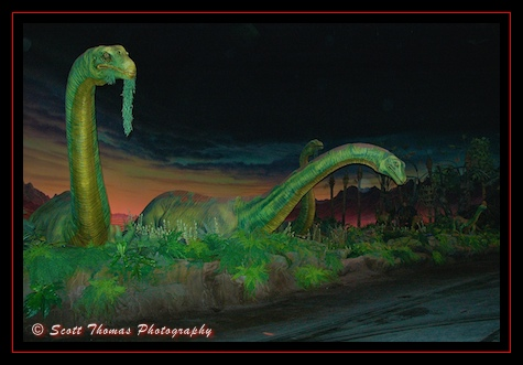 Audio-animatronic brontosaurus dinosaurs inside the Universe of Energy in Epcot's Future World, Walt Disney World, Orlando, Florida